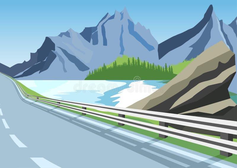 在山的弯曲道路沿海或海洋 库存例证
