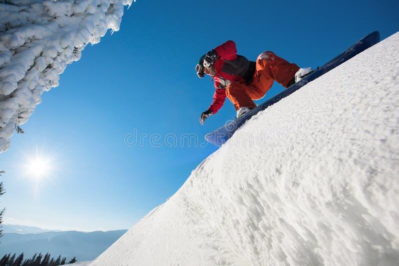 在山的挡雪板骑马在一个晴朗的冬日 免版税库存照片