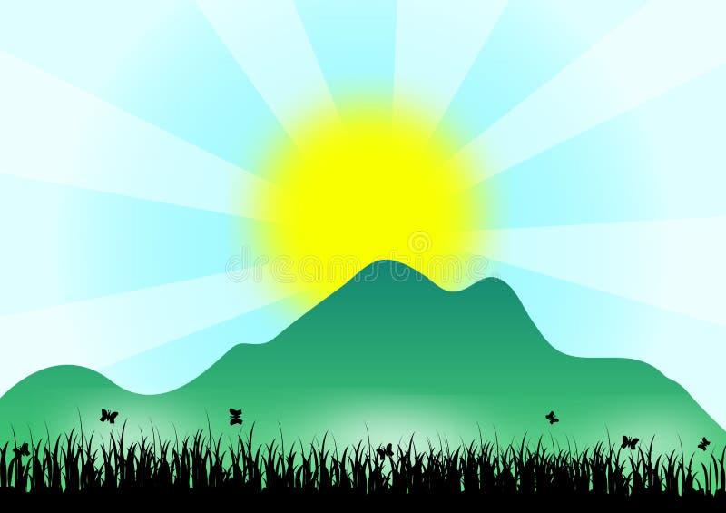 在山的日出 向量例证
