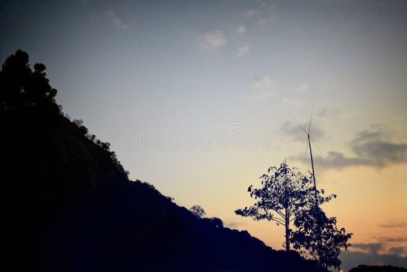 在山的日落与树,葡萄酒样式 免版税库存图片