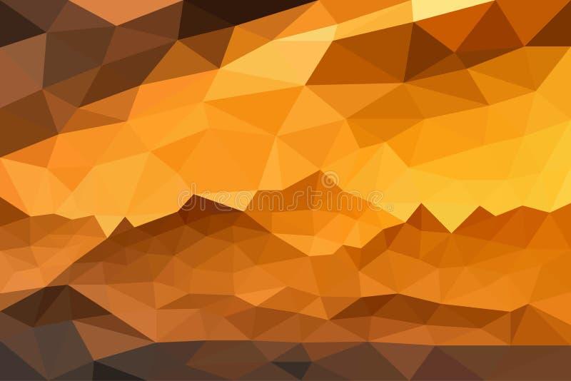 在山的日落在多角形样式 您的设计的好的风景背景 向量例证EPS10 向量例证