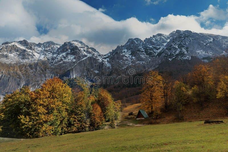 在山的木客舱在波斯尼亚和Herzeg的秋天 免版税库存图片