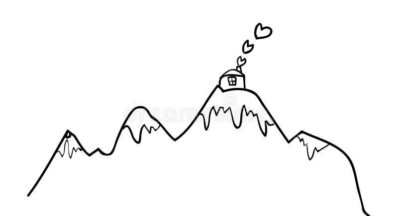 在山的村庄 向量例证