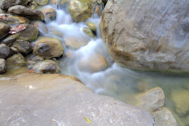 在山的流 异常的自上而下的看法 库存照片