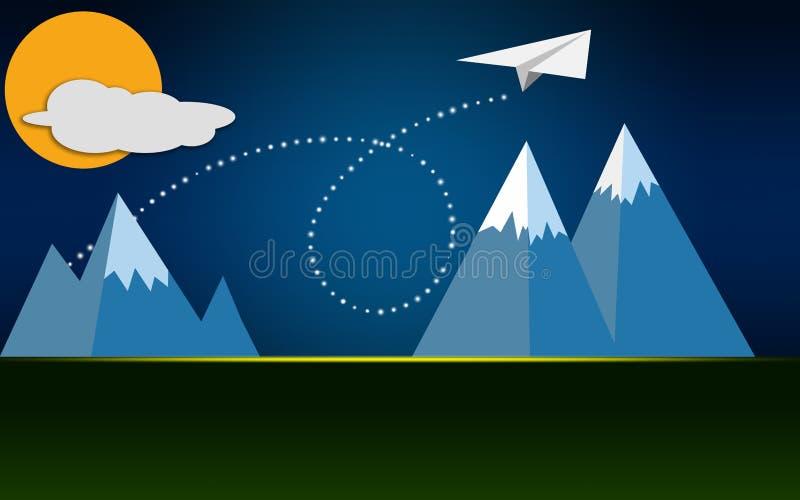 在山的白皮书平面飞行 向量例证