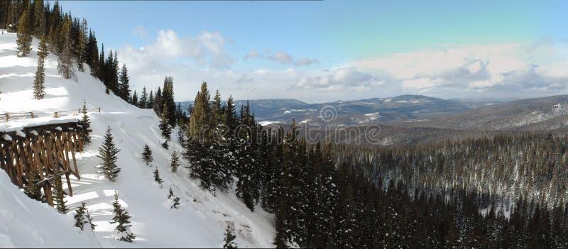在山的积雪的火车支架 免版税库存照片