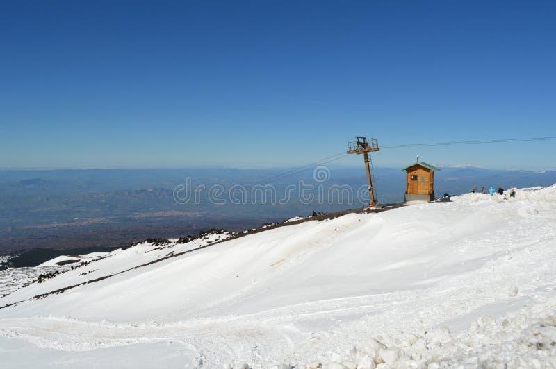 在山的空的滑雪电缆车 图库摄影