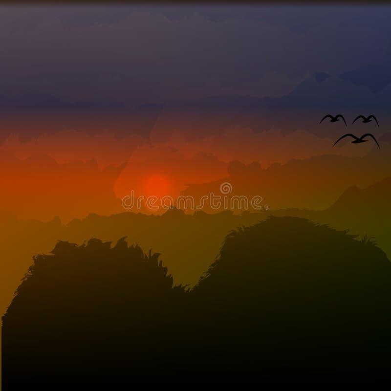 在山的美好的山风景晚上传染媒介例证日落 向量例证