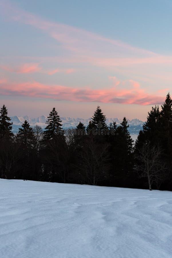 在山的美好的日落 免版税库存图片