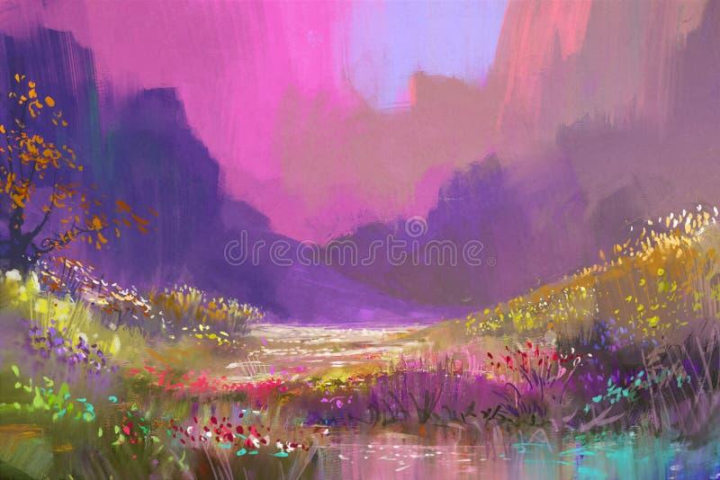 在山的美好的风景与五颜六色的花 向量例证