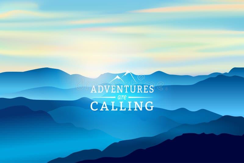在山的蓝色日出-导航背景 标志冒险叫 库存例证