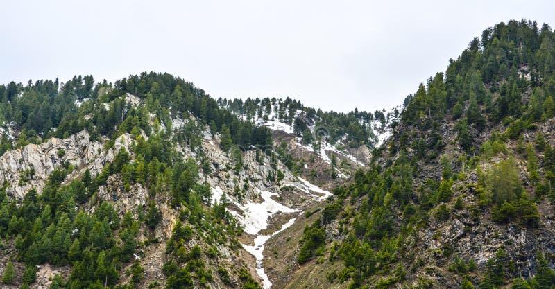 在山的雪在Naran Kaghan谷,巴基斯坦 免版税图库摄影
