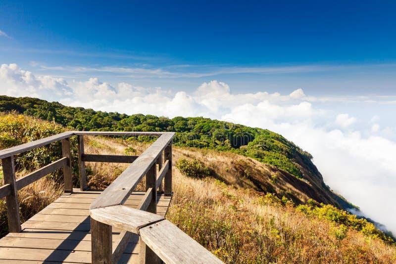 在山的顶视图在一个最普遍的旅游国家公园中泰国,土井inthanon 图库摄影