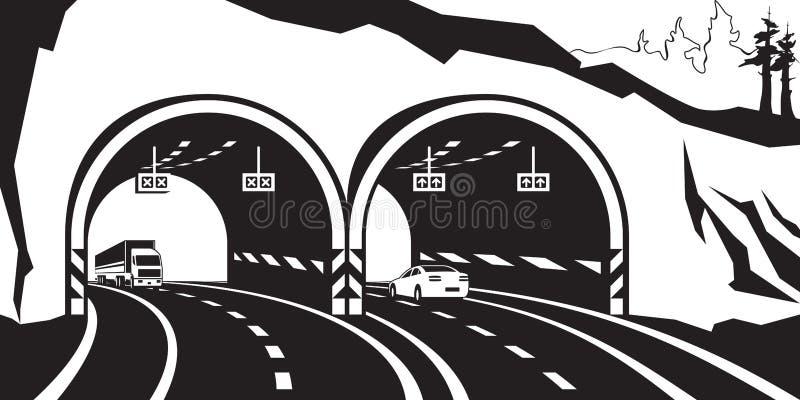 在山的高速公路隧道 库存例证