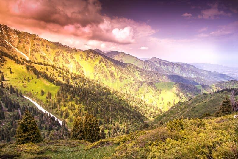 在山的令人敬畏的明亮的日落,在明亮的col的风景 库存图片