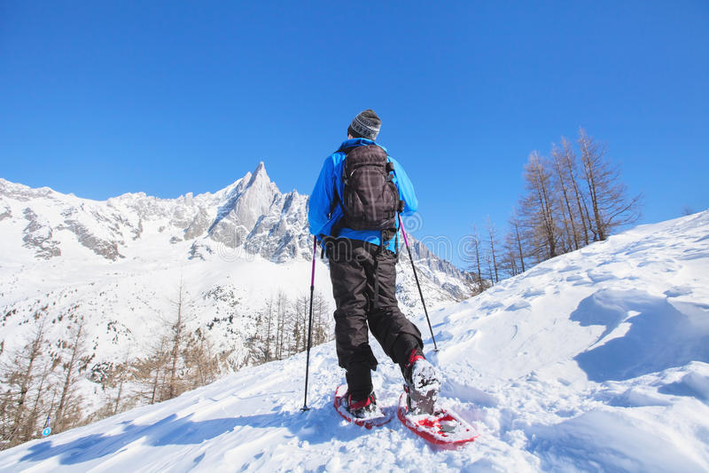 在山的Snowshoeing 免版税图库摄影