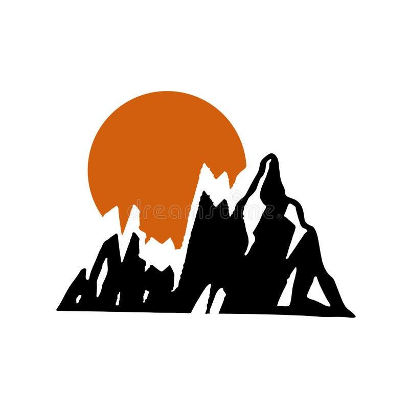 在山背景的美好的晴朗的日落在一种抽象设计趋向颜色的 向量例证