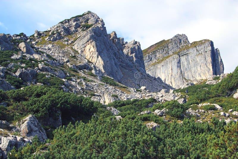 在山脉的看法在阿尔卑斯(Rofan) 库存照片