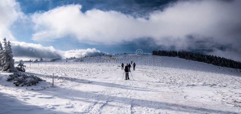 在山草甸的Snowshoeing冬天Fischbacher Alpen山的在施蒂里亚 免版税图库摄影