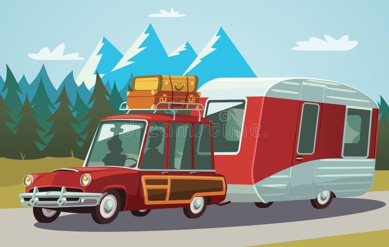 在山路的露营搬运车 库存例证