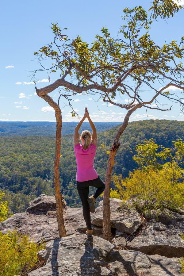 在山野荒地视图的女性瑜伽asanas 库存图片