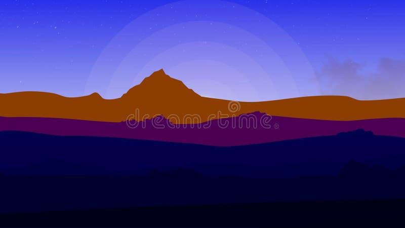 在山附近的动画片乘驾 在五颜六色的日落期间,摇摄射击了山ridgeline 在的生气蓬勃的路 向量例证