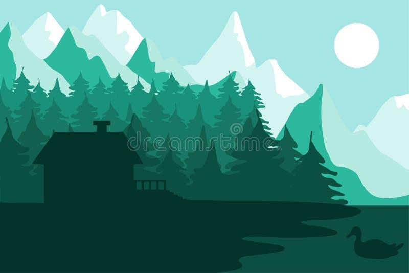 在山附近的森林房子 库存例证