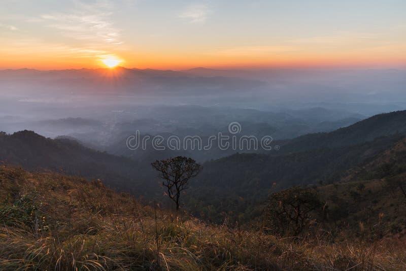在山顶的日落 库存图片