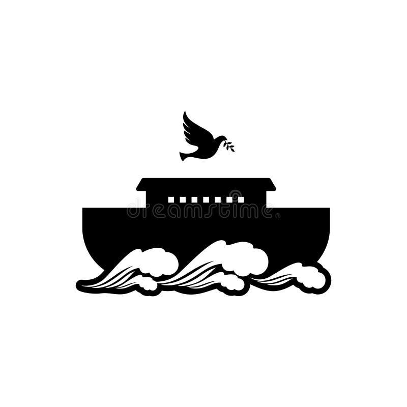 在山顶部的商标挪亚方舟 与橄榄分支的鸠  抢救动物和人的船从洪水 皇族释放例证