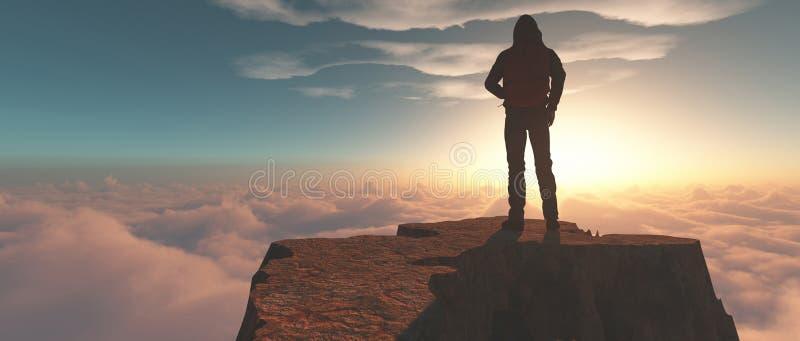 在山顶部的登山人 库存图片