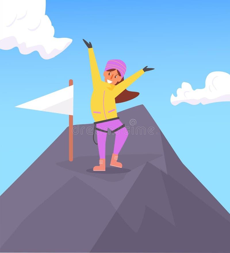 在山顶部的登山人 库存例证