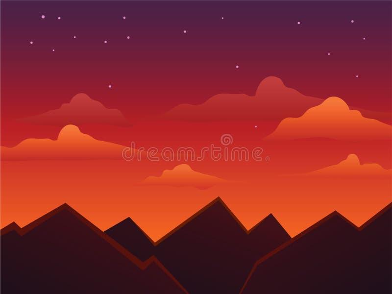 在山顶部的黄昏天空 向量例证
