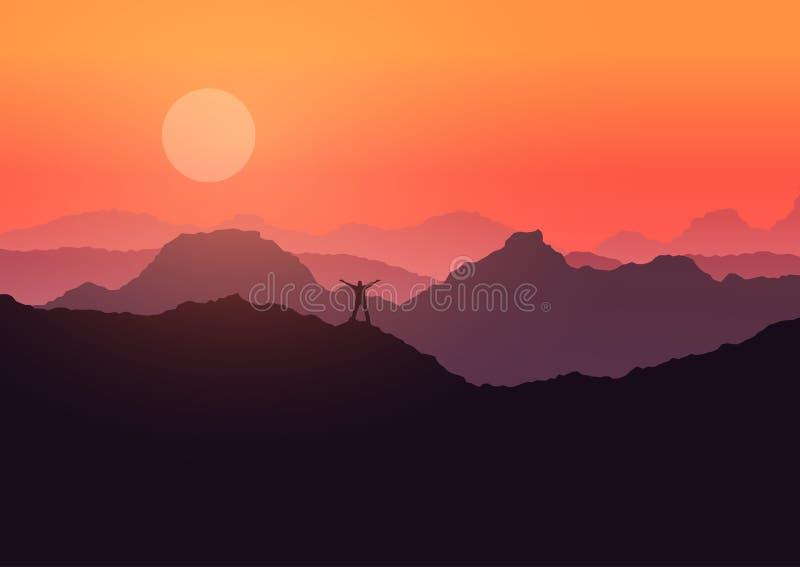 在山风景站立的人在日落 库存例证