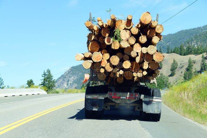 在山高速公路的采伐的卡车 图库摄影