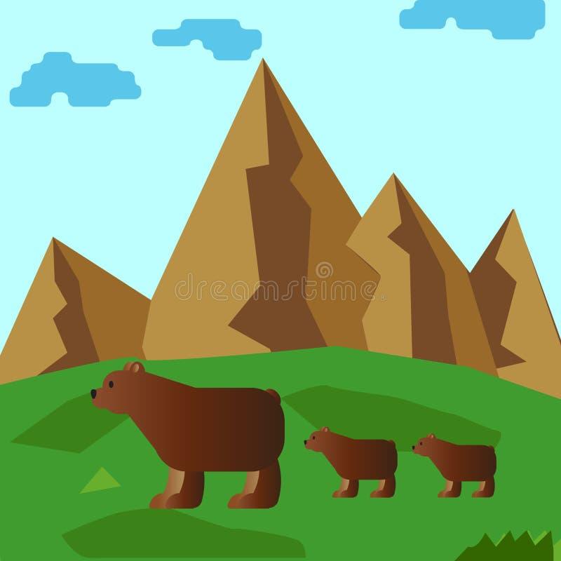在山麓小丘的熊家庭 皇族释放例证