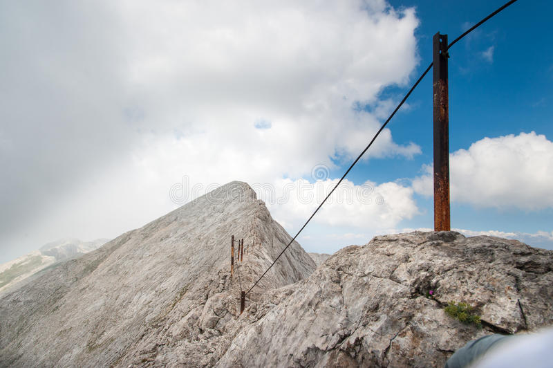 在山Pirin的Koncheto峰顶 图库摄影