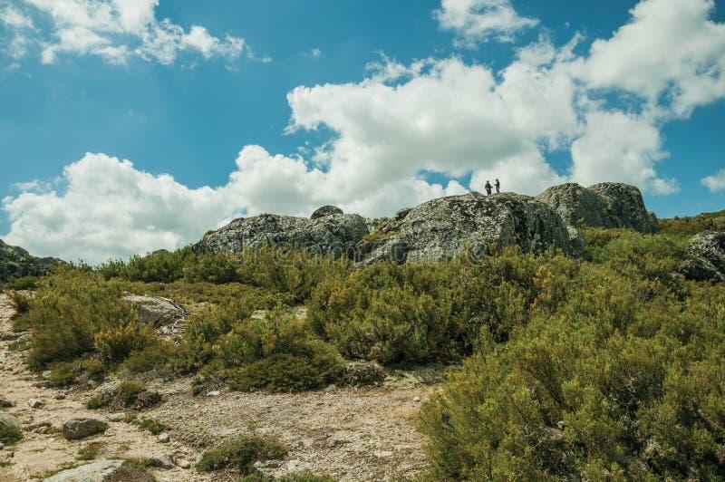 在岩层顶部的徒步旅行者与灌木 免版税库存照片