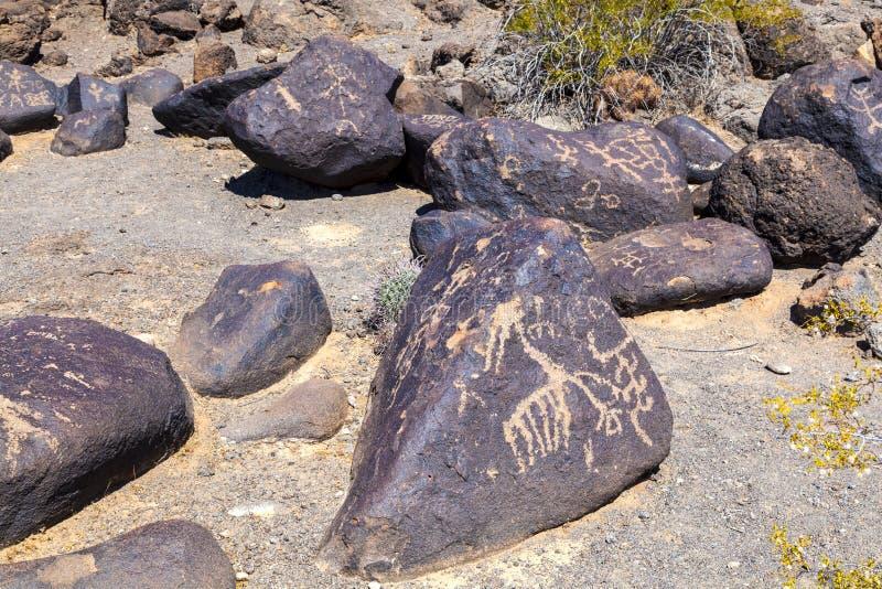 刻在岩石上的文字站点,在吉拉弯附近,亚利桑那 免版税库存图片