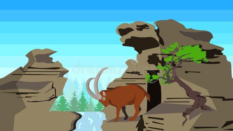 在岩石与树,无缝,动物,自然的山羊 库存例证