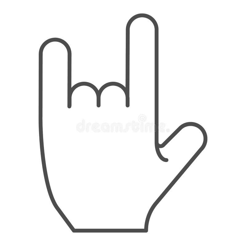 在岩石姿态稀薄的线象的手 摇滚乐标志在白色隔绝的传染媒介例证 重金属的概述样式 库存例证