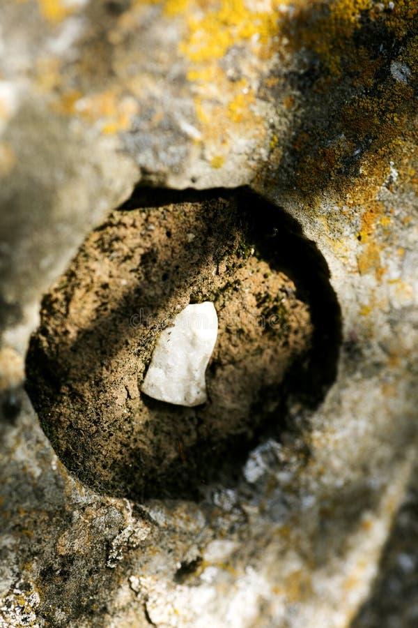 在岩石宏观背景墙纸优质印刷品的圆的孔50,6个Megapixels产品 免版税图库摄影