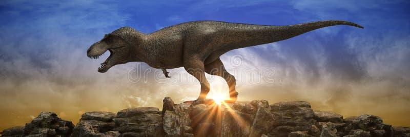在岩石山的恐龙在日落 向量例证