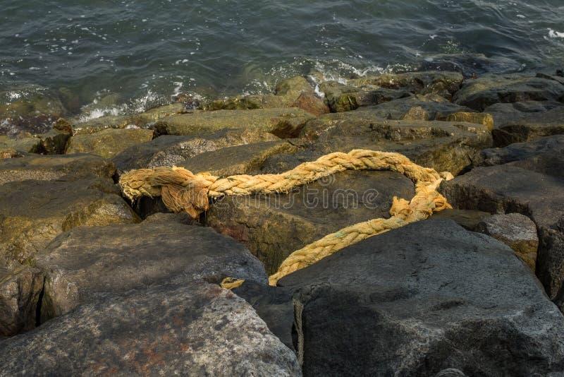 在岩石岸的老腐烂的大麻绳索 图库摄影