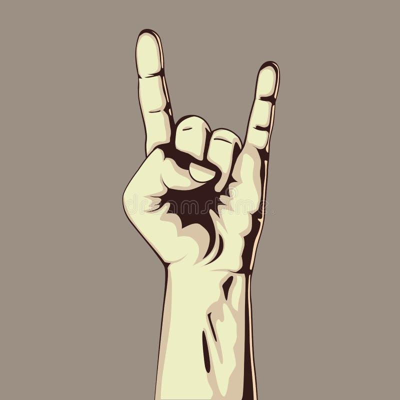 在岩石标志的手 向量例证