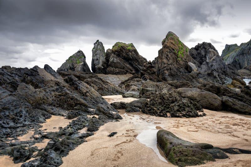 在岩石海岸的风暴 免版税库存照片