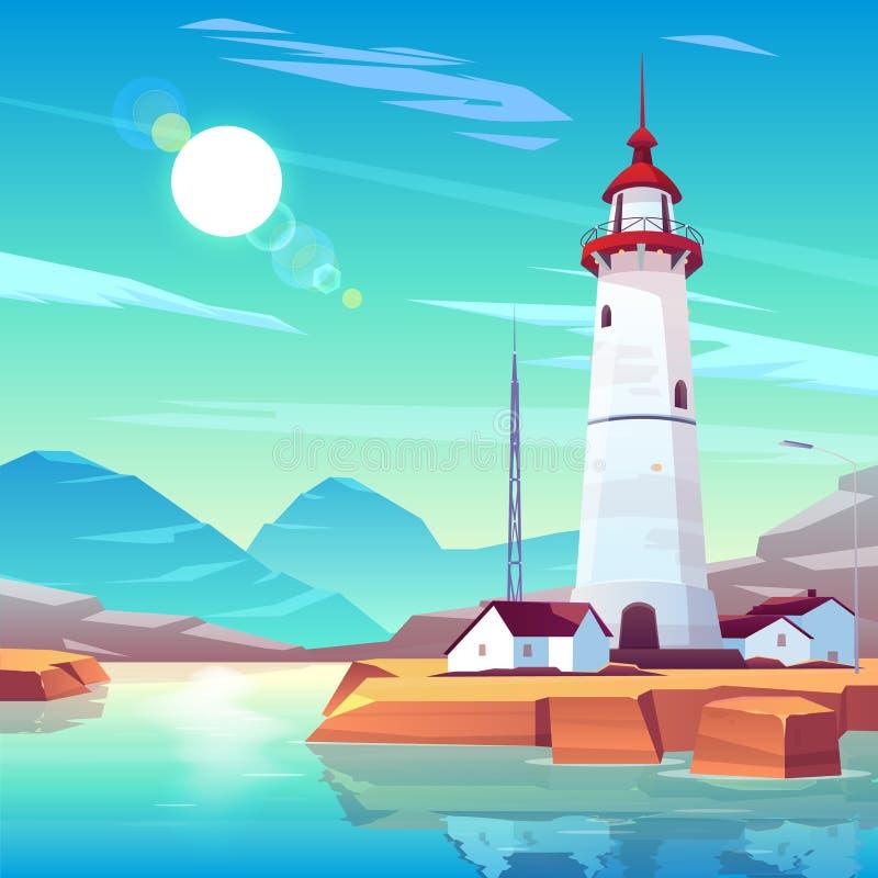 在岩石海滨的灯塔身分在好日子 向量例证
