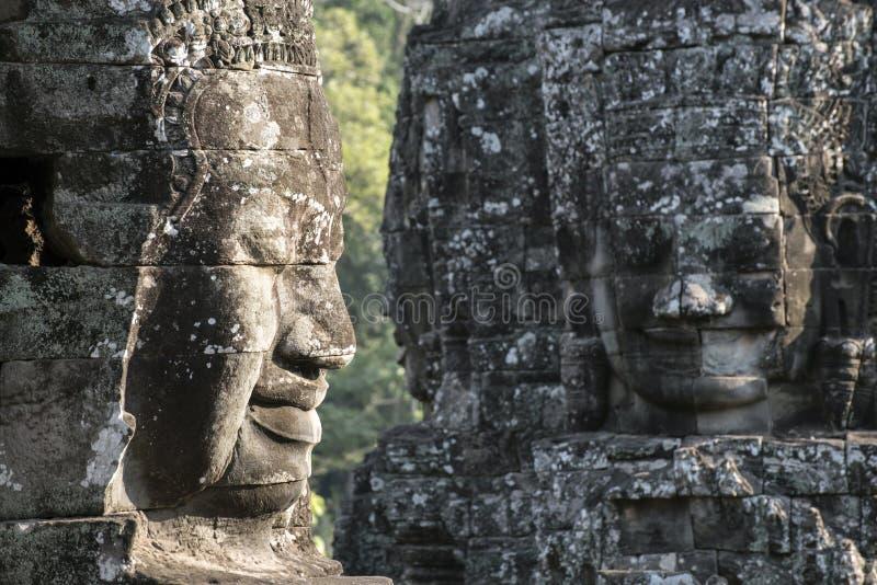 在岩石的两张大石面孔 免版税库存照片