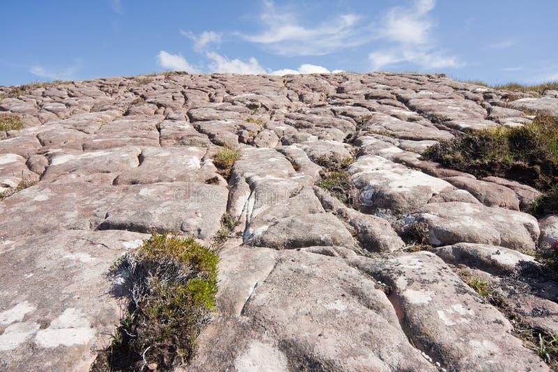 在岩石的冰河凹线 免版税库存图片