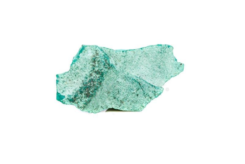 在岩石的宏观矿物石绿沸铜在白色背景 免版税图库摄影