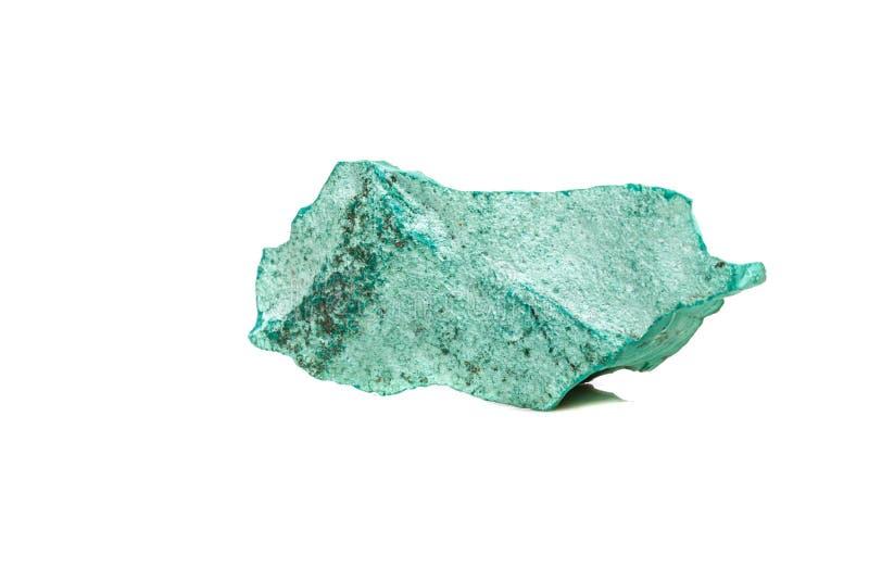 在岩石的宏观矿物石绿沸铜在白色背景 免版税库存照片